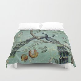 A Teal of Two Birds Chinoiserie Duvet Cover