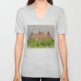Texas State (SWT) University Old Main Building, San Marcos, TX Unisex V-Neck