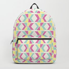 Magenta, Yellow, and Turquoise geometric hourglass pattern Backpack