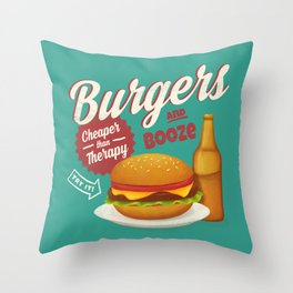 Burgers and Booze Throw Pillow