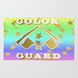 Color Guard Rainbow and Gold Stars Design Rug