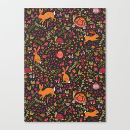 Tortoise and the Hare in Red Canvas Print