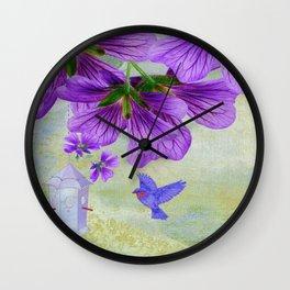 Purple Cranesbill Wall Clock