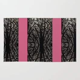 Gothic tree striped pattern pink Rug