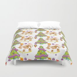 Hand painted green red Merry Christmas holiday typography pattern Duvet Cover