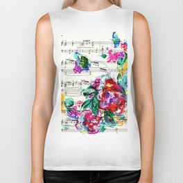 Musical Beauty - Floral Abstract - Piano Notes Biker Tank