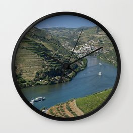 Pinhao village on the Douro, Portugal Wall Clock