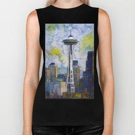 """Seattle Washington Fine Art Watercolor Painting """"Seattle Space Needle"""" Biker Tank"""