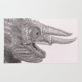 Happy Chameleon (pen and ink) Rug