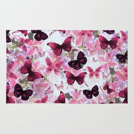 Rose pink lavender floral collage whimsical butterfly Rug