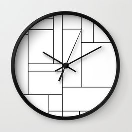 Geometric Abstract - Rectangulars (Black) Wall Clock