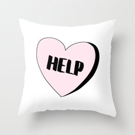 Help Candy Heart Throw Pillow