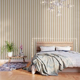 Burlywood brown -  solid color - white vertical lines pattern Wallpaper