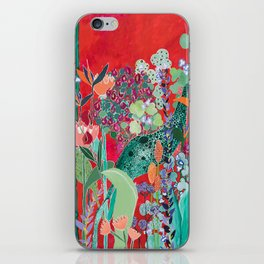 Floral Jungle on Red with Proteas, Eucalyptus and Birds of Paradise iPhone Skin