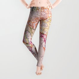 Vintage Map Pattern Leggings