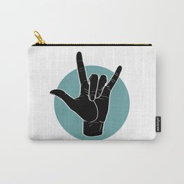 ILY - I Love You - Sign Language - Black on Green Blue 00 Tasche