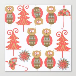 Owls pattern t4 Canvas Print