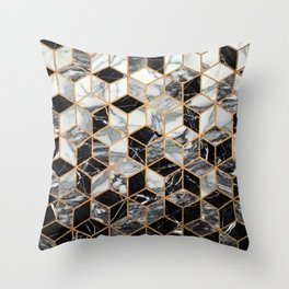 Marble Cubes - Black and White Throw Pillow