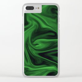 Black and green marble pattern Clear iPhone Case