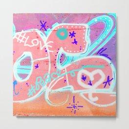 Peace Love Metal Print