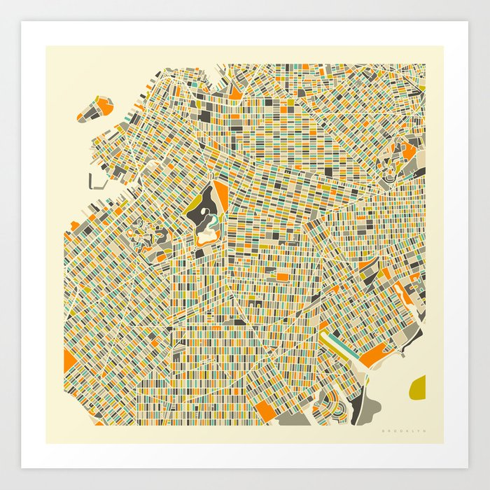 Brooklyn Map Art Print by jazzberryblue Society6