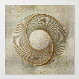 Geometrical Line Art Circle Distressed Gold Canvas Print