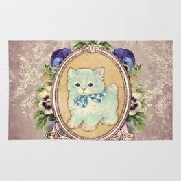 Kitschy Blue Kitten Rug