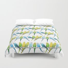 Row of Budgies Duvet Cover