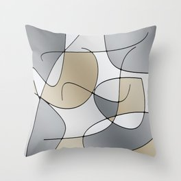 ABSTRACT CURVES #1 (Grays & Beiges) Throw Pillow