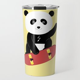 Panda on a skateboard Travel Mug