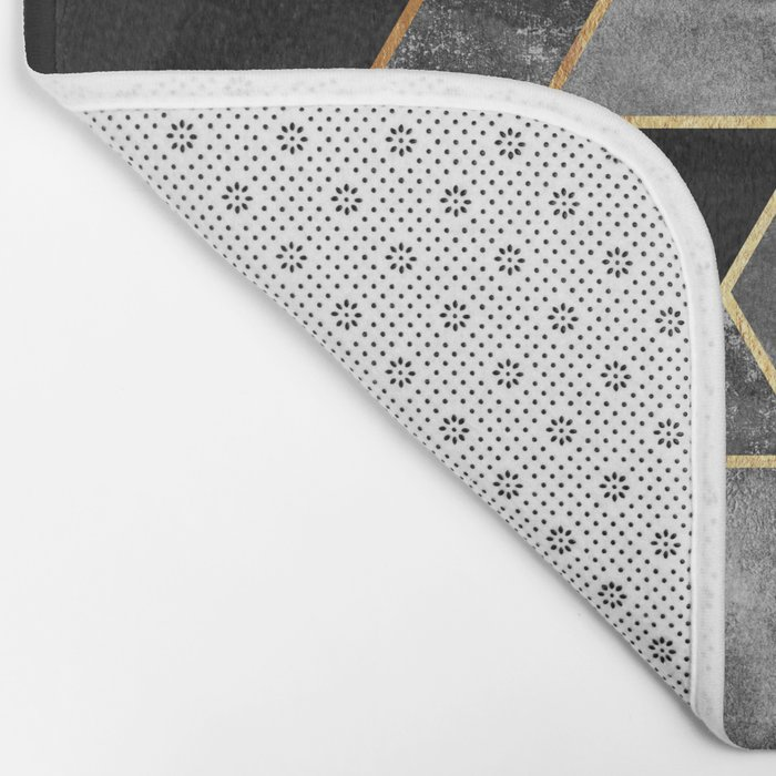 Charcoal Hexagons Bath Mat