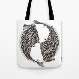Pisces - Fish Koi - Japanese Tattoo Style (black and white) Tote Bag