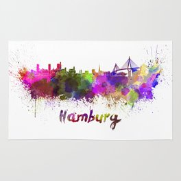 Hamburg skyline in watercolor Rug
