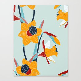 Mid Century spring flowers Canvas Print