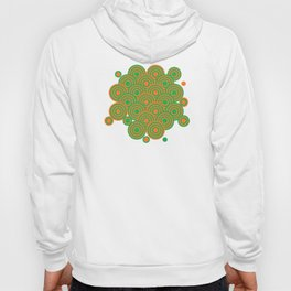 op art pattern retro circles in green and orange Hoody