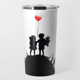 Banksy, Kids with heart balloon Travel Mug