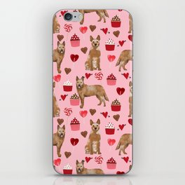 Australian Cattle Dog red heeler valentines day cupcakes hearts love dog breed gifts iPhone Skin