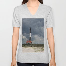 Dramatic Sky Over Fire Island Light Unisex V-Neck