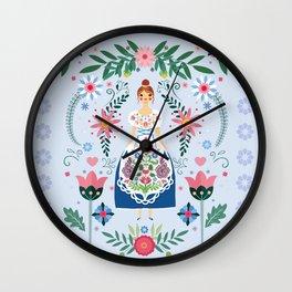 Fairy Tale Folk Art Garden Wall Clock
