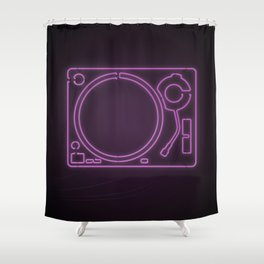 Neon Turntable 1 - 3D Art Shower Curtain