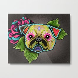 Pug in Fawn - Day of the Dead Sugar Skull Dog Metal Print