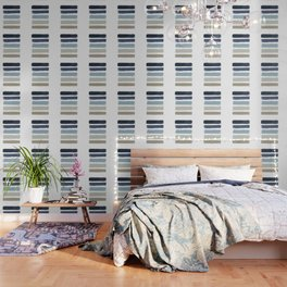 Blue & Taupe Stripes Wallpaper