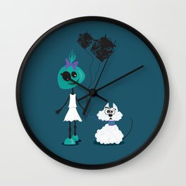 Extraterrestrial girl and her pet Wall Clock