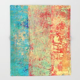 Brilliant Encounter, Abstract Art Turquoise Red Throw Blanket