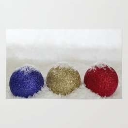 Christmas Baubles Sprinkled With Snow Rug