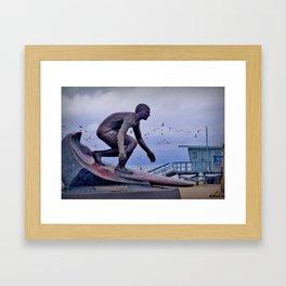 Tim Kelly's statue - Hermosa Beach Pier Framed Art Print