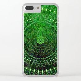 Green Flower Mandala Clear iPhone Case