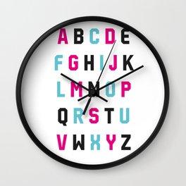 Typography Alphabet #1 Wall Clock