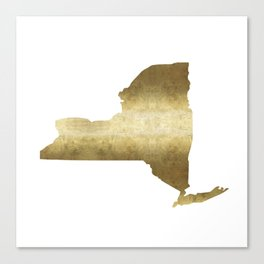 new york gold foil state map print niece ny state Canvas Print