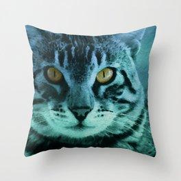 Green Cat Watercolor Throw Pillow